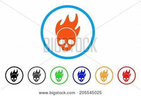 Death Fire rounded icon. Style is a flat death fire orange symbol inside light blue circle with black, gray, green, blue, red, orange color versions. Vector designed for web and software interfaces.