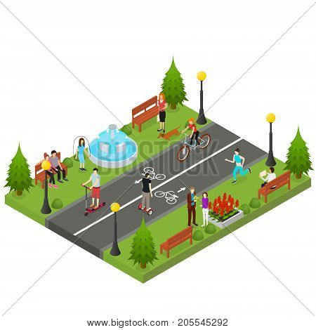 Park Activity in City Recreational Scene for Summer Leisure People and Sports Isometric View Element Map or Game. Vector illustration