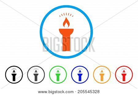 Fire Torch Light rounded icon. Style is a flat fire torch light orange symbol inside light blue circle with black, gray, green, blue, red, orange color versions.