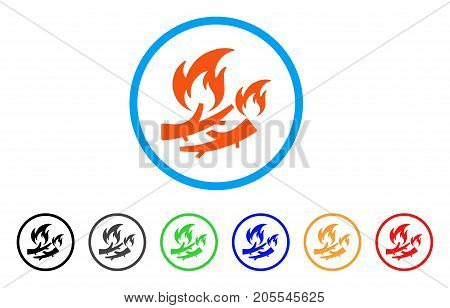 Firewood Fire rounded icon. Style is a flat firewood fire orange symbol inside light blue circle with black, gray, green, blue, red, orange variants. Vector designed for web and software interfaces.