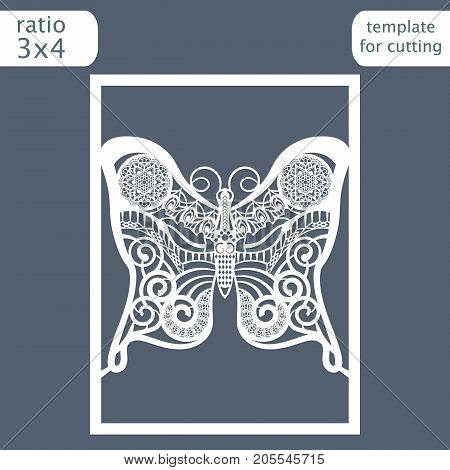 Laser cut wedding invitation card template. Cut out a paper card with a butterfly pattern. Greeting card template for cutting plotter. Vector.