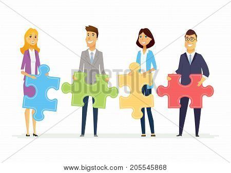 Teamwork in a company - modern cartoon people characters illustration with smiling businesspeople holding puzzle pieces and standing together. Creative metaphorical concept of unity and partnership