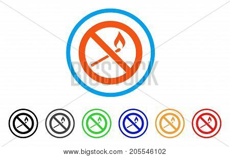 Forbidden Match Fire rounded icon. Style is a flat forbidden match fire orange symbol inside light blue circle with black, gray, green, blue, red, orange color versions.