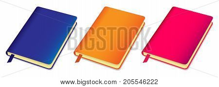 Three Colorful Copybooks Template With Bookmark. Vector Illustration.