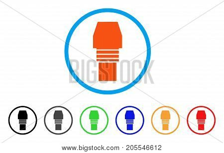 Gas Burner Nozzle rounded icon. Style is a flat gas burner nozzle orange symbol inside light blue circle with black, gray, green, blue, red, orange color versions.