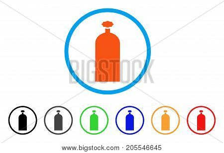 Gas Cylinder rounded icon. Style is a flat gas cylinder orange symbol inside light blue circle with black, gray, green, blue, red, orange variants. Vector designed for web and software interfaces.