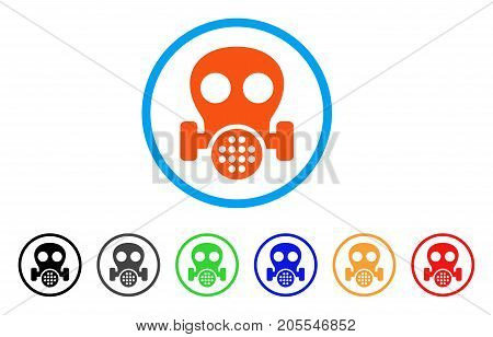 Gas Mask rounded icon. Style is a flat gas mask orange symbol inside light blue circle with black, gray, green, blue, red, orange variants. Vector designed for web and software interfaces.