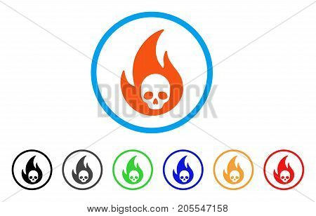 Hell Fire rounded icon. Style is a flat hell fire orange symbol inside light blue circle with black, gray, green, blue, red, orange versions. Vector designed for web and software interfaces.