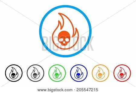 Hell Fire rounded icon. Style is a flat hell fire orange symbol inside light blue circle with black, gray, green, blue, red, orange color versions. Vector designed for web and software interfaces.