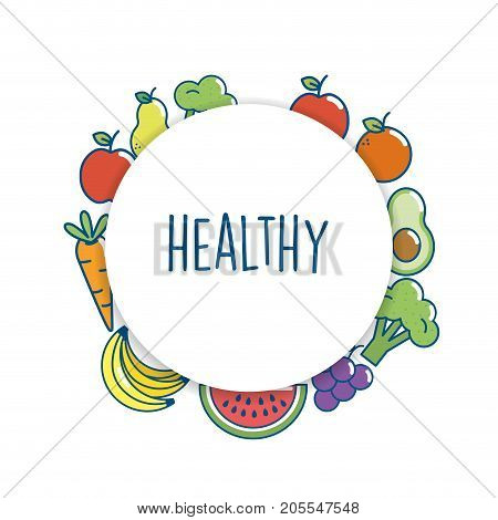 set delicious food nutrition to eat vector illustration