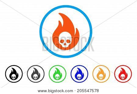 Hellfire rounded icon. Style is a flat hellfire orange symbol inside light blue circle with black, gray, green, blue, red, orange color versions. Vector designed for web and software interfaces.