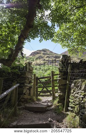 Gate to Hallin Fell Ullswater the Lake District Cumbria England.