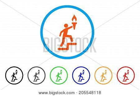Leader Climb With Torch rounded icon. Style is a flat leader climb with torch orange symbol inside light blue circle with black, gray, green, blue, red, orange color versions.
