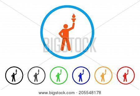 Leader With Freedom Torch rounded icon. Style is a flat leader with freedom torch orange symbol inside light blue circle with black, gray, green, blue, red, orange versions.