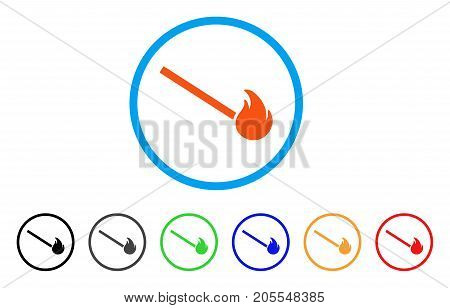 Match Fire rounded icon. Style is a flat match fire orange symbol inside light blue circle with black, gray, green, blue, red, orange versions. Vector designed for web and software interfaces.