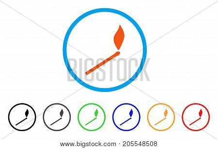 Match Fire rounded icon. Style is a flat match fire orange symbol inside light blue circle with black, gray, green, blue, red, orange color versions. Vector designed for web and software interfaces.