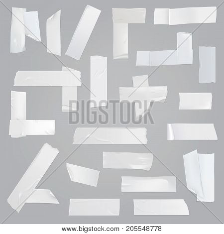 White adhesive tape various pieces with wrinkles, curved and torn edges isolated realistic vector illustrations set. Different size, glued at angles, cut off strips of sticky tape element collection