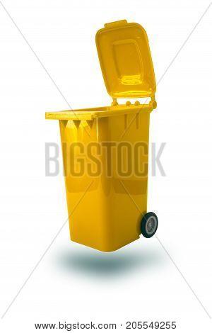 Open Trash Bin Yellow Color Recycle Bin Plastic Garbage Bin