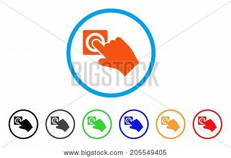 Push Alarm Button rounded icon. Style is a flat push alarm button orange symbol inside light blue circle with black, gray, green, blue, red, orange versions.
