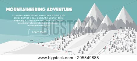 Alps, fir trees, ski lift, mountains wide panoramic background. Mountaineering adventure. Winter web banner design. Flat mountaineering, vector illustration. Swiss Alps vector illustration.