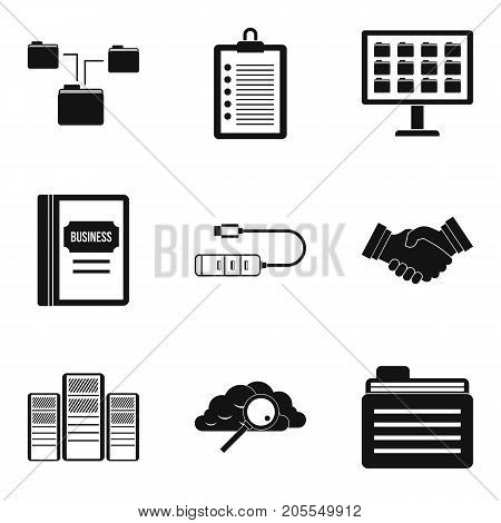 Business case icons set. Simple set of 9 business case vector icons for web isolated on white background