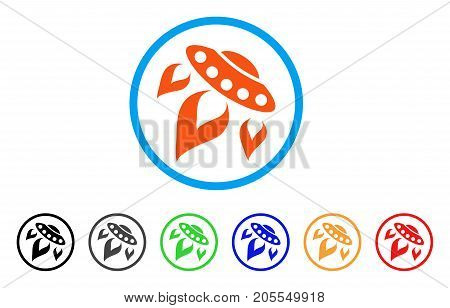 UFO Start Fire rounded icon. Style is a flat ufo start fire orange symbol inside light blue circle with black, gray, green, blue, red, orange versions. Vector designed for web and software interfaces.