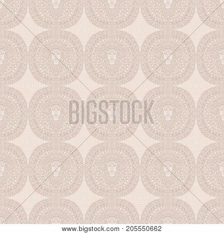 Buddha seamless nude pattern. Mandala background. Indian, buddhism ornament. Tattoo vector illustration