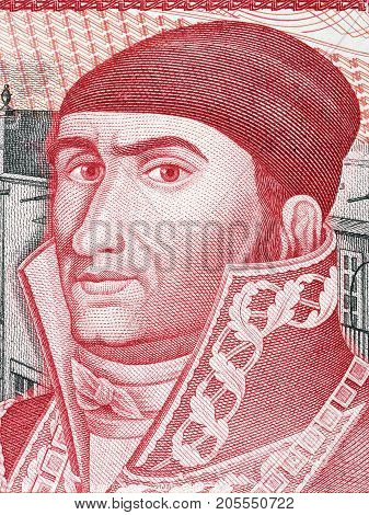 Jose Maria Morelos portrait from old Mexican money