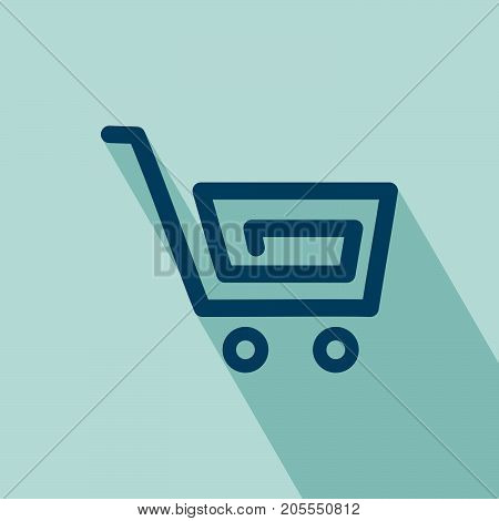 Shopping Cart Icon. Flat Shopping Cart icon. Elements for design. Shopping Cart Icon on blue background. All in a single layer. Vector Illustration.