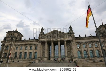 Reichstag Building Is Parliament Of Germany In Berlin With Flag