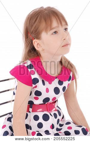 Portrait of adorable smiling little girl isolated on a white background