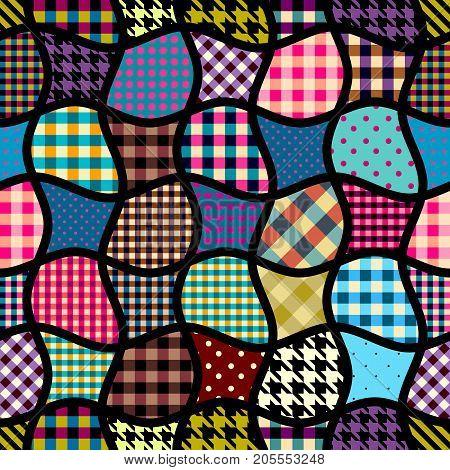 Imitation of geometric patchwork pattern. Interweaving ribbons on black background. Seamless vector pattern.