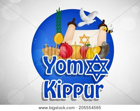 illustration of shofar, apple, Pomegranate, bee, honey and Pigeon with Yom Kippur text on the occasion of jewish yom kippur holiday