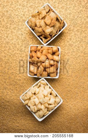 stock photo of  variety of Shakkar pare Also Know as Shakkarpare, Shakarpali, Shakkar Para, or Shankarpalli or shankar pale is a Snack Typically Made in India During Diwali
