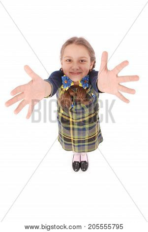 Young girl raising her hands up. Ready for your text or logo. Isolated on white background