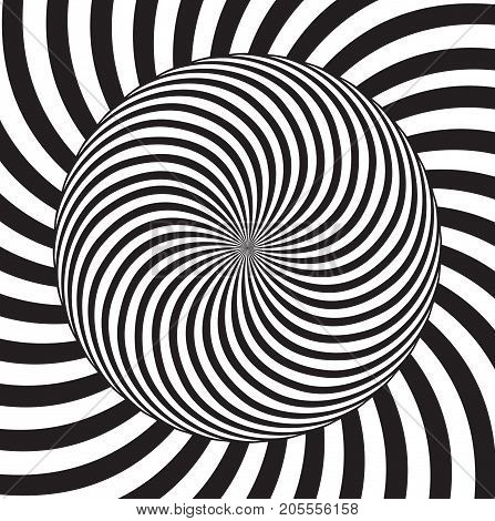 Optical illusion. White and black stripes are mixed in a circle. Manifest style.