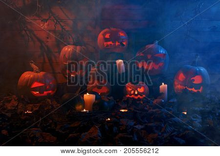 The Concept Of Halloween. A Lot Of Luminous Evil Scary Pumpkins, Jack Lantern, With Candles, Leaves