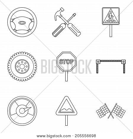 Dangerous driving icons set. Outline set of 9 dangerous driving vector icons for web isolated on white background