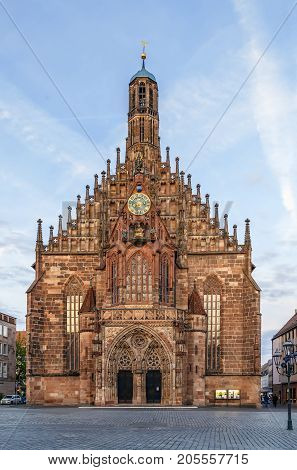 The Frauenkirche (Church of Our Lady) is a church in Nuremberg Germany. An example of brick Gothic architecture it was built between 1352 and 1362