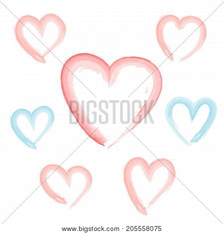 Cute watercolor hand drawn pink and blue hearts set. Isolated vector hearts for Valentine day, love greeting cards, banner and web design