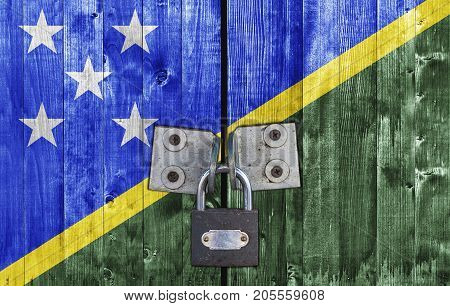Solomon Islands flag on door with padlock