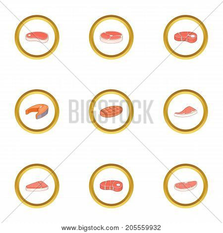 Piece of meat icons set. Cartoon style set of 9 piece of meat vector icons for web design