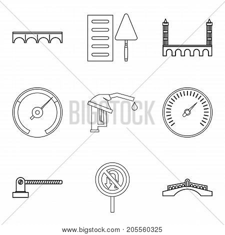 Refueling icons set. Outline set of 9 refueling vector icons for web isolated on white background