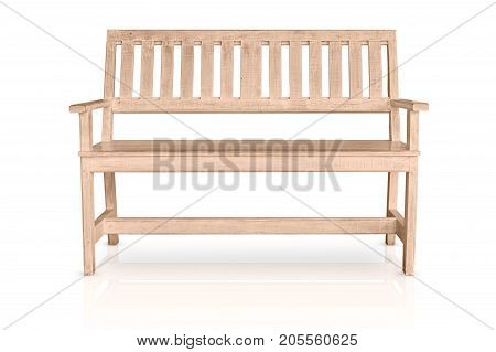 Clean New Wooden Bench White Wood Color Isolated On White Background