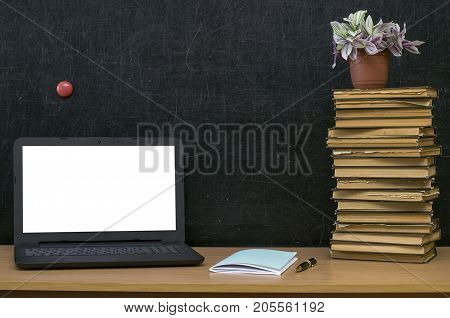 Teacher or student desk table. Education background. Education mockup concept. Laptop with blank screen green plant tree stacked books and textbook on blackboard (chalkboard) background.