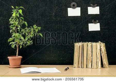 Teacher or student desk table. Education background. Education concept. Stacked books copybook book green plant tree pen and note paper on blackboard background.
