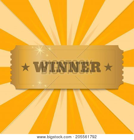 Winner golden banner. Shiny winner banner on background of rays of light. Vector illustration