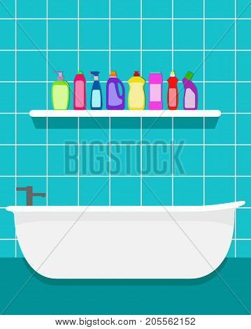 Simple Bathroom Interior With Bath And Shelf, Contained Bottles Of Detergent, Washing Powder, Deterg