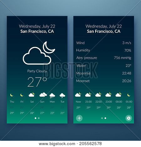 Flat user interface concept with weather widgets and web elements for mobile design vector illustration