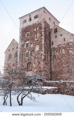 Vertical Photo Of Turku Castle In Winter Season